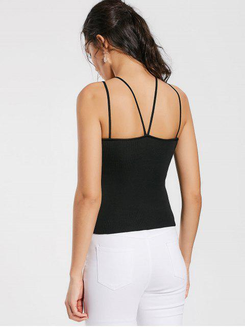 ladies Cami Knitted Tank Top - BLACK ONE SIZE Mobile