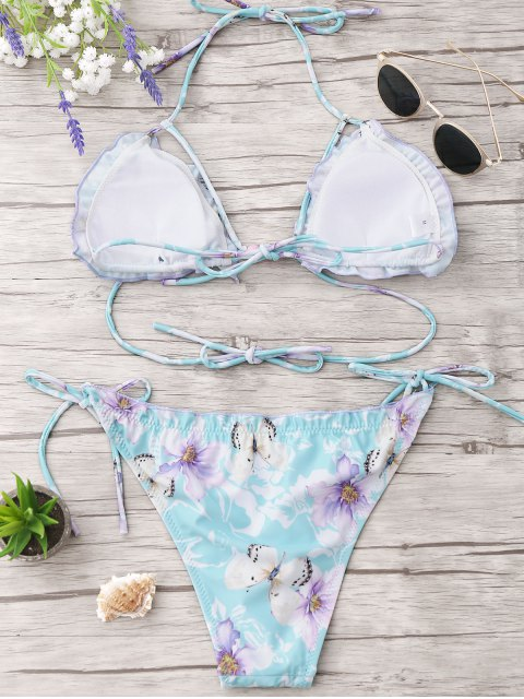 best Frilled Floral Beaded String Bikini Set - CLOUDY M Mobile