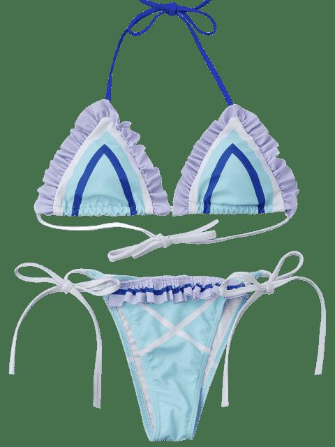 shop Halter Frilled String Bikini Set - LIGHT BLUE M Mobile