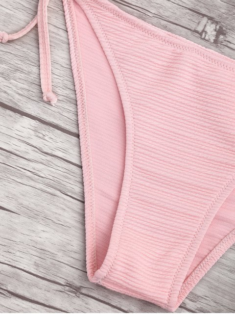 latest Ribbed Texture Strappy String Bikini - SHALLOW PINK L Mobile