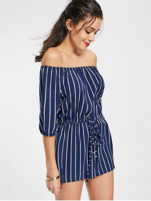Off The Shoulder Self Tie Romantique à rayures - Bleu Violet L Mobile