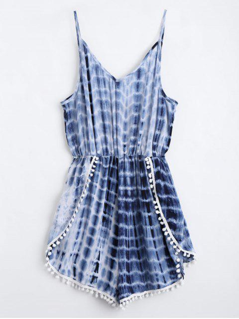 fashion Lace Trim Layered Tie Dyed Romper - PURPLISH BLUE S Mobile
