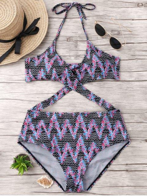 Tiny Floral Zigzag Monokini - Multicolore L Mobile