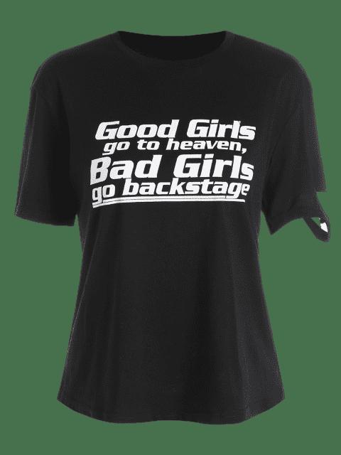 trendy Cotton Ripped Letter T Shirt - BLACK XL Mobile