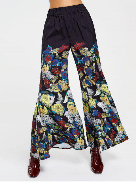 online High Waisted Floral Bell Bottom Pants - FLORAL S Mobile