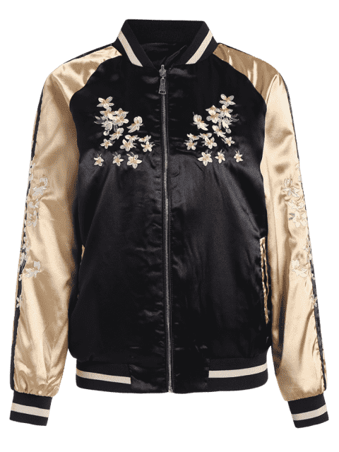 fancy Floral Embroidered Double Side Souvenir Jacket - BLACK L Mobile