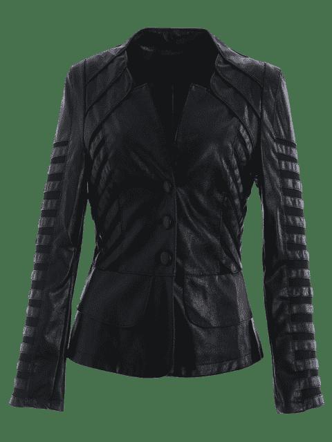 lady Mesh Panel Faux Leather Jacket - BLACK 2XL Mobile