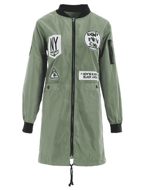 ladies Badge Patched Zip Up Coat with Pockets - ARMY GREEN M Mobile