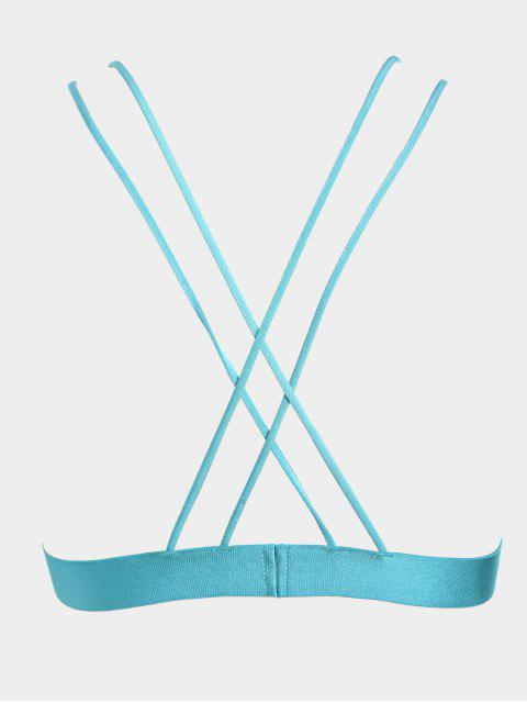 ladies Floral Applique Crisscross Strappy Bra - LAKE BLUE S Mobile