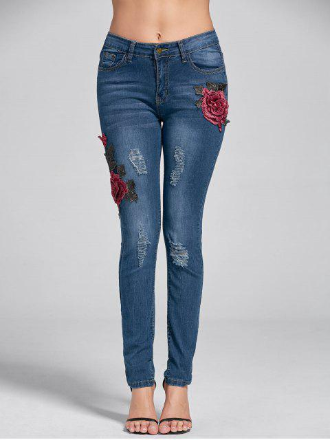 latest Embroidery Skinny Ripped Jeans - DENIM BLUE M Mobile