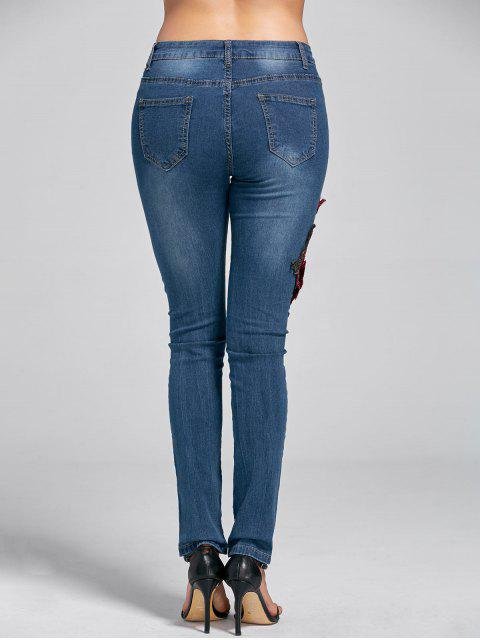trendy Embroidery Skinny Ripped Jeans - DENIM BLUE L Mobile