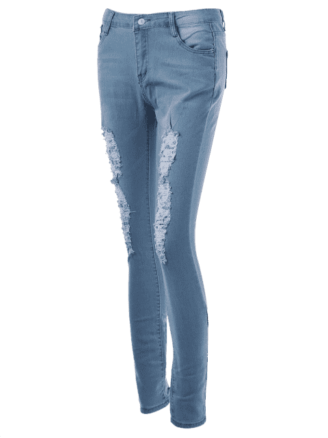 fancy Low Rise Distressed Cuffed Jeans - DENIM BLUE M Mobile
