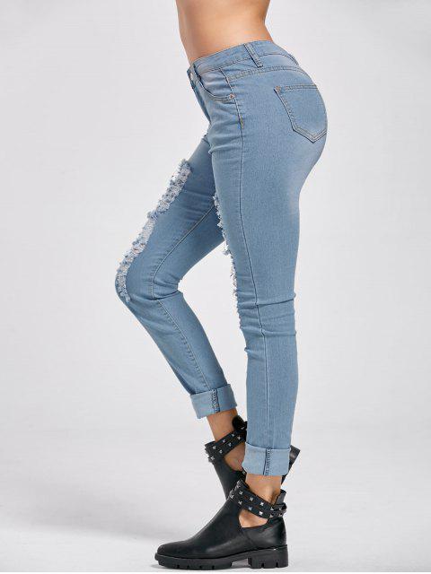 unique Low Rise Distressed Cuffed Jeans - DENIM BLUE L Mobile