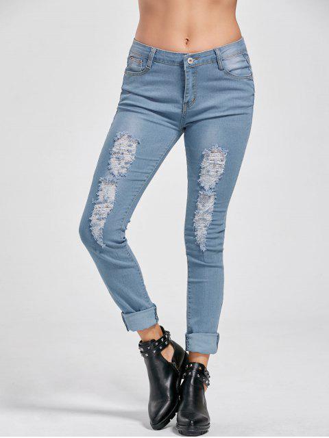 Zerstörte Jeans mit Saumaufschlag und niedrigem Ausschnitt - Denim Blau 2XL Mobile