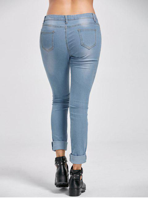 affordable Low Rise Distressed Cuffed Jeans - DENIM BLUE 2XL Mobile