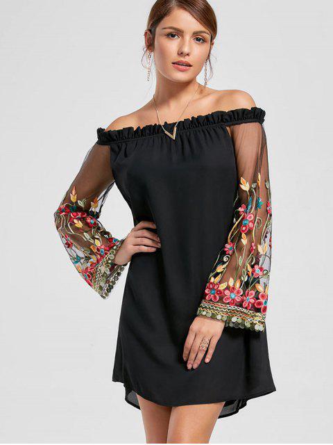 Bordado Flare manga del vestido de hombro - Negro XL Mobile
