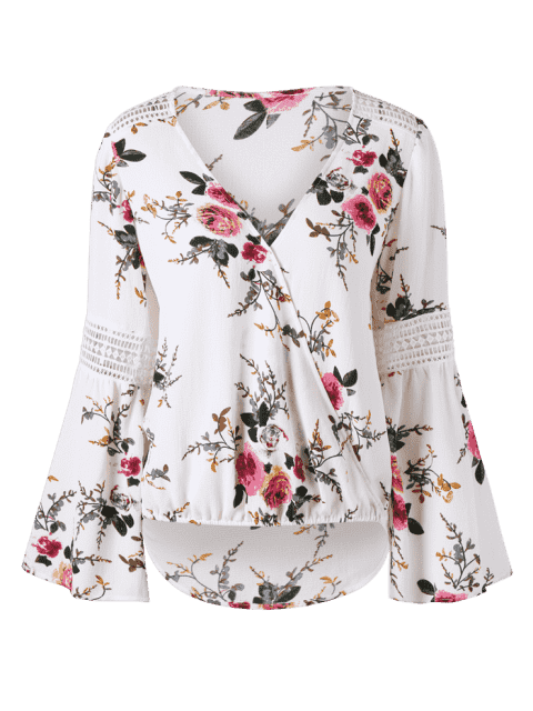 trendy Allover Floral Flare Sleeve Blouse - WHITE 2XL Mobile