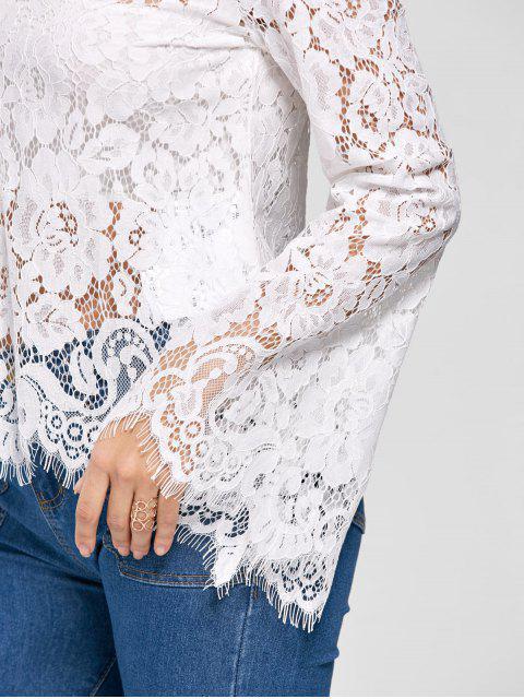 unique Flare Sleeve Choker Neck Lace Blouse - WHITE 2XL Mobile