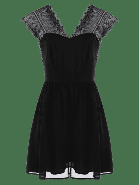 latest Lace Yoke Open Back Skater Dress - BLACK 2XL Mobile