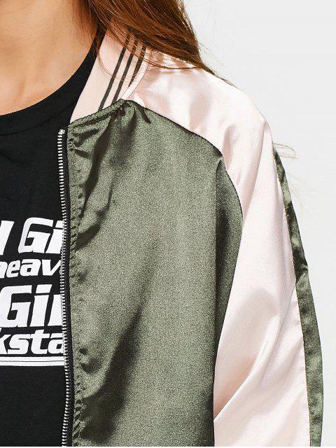 chic Raglan Sleeve Zip Up Baseball Jacket - ARMY GREEN S Mobile