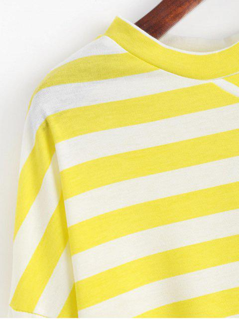 affordable Drop Shoulder Flare Sleeve Striped Tee - YELLOW ONE SIZE Mobile