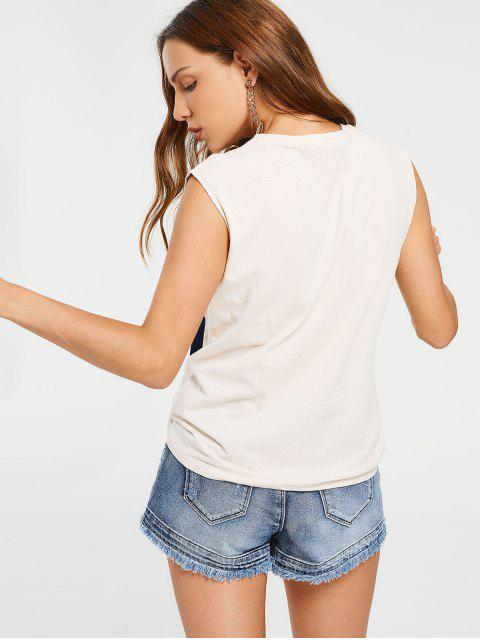 women's Sleeveless Ribbon Patched Top - OFF-WHITE ONE SIZE Mobile