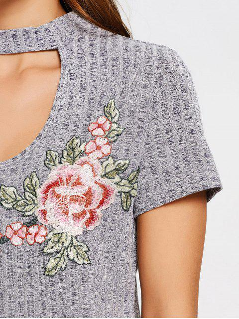 online Floral Embroidered Knitted Choker Top - GRAY S Mobile