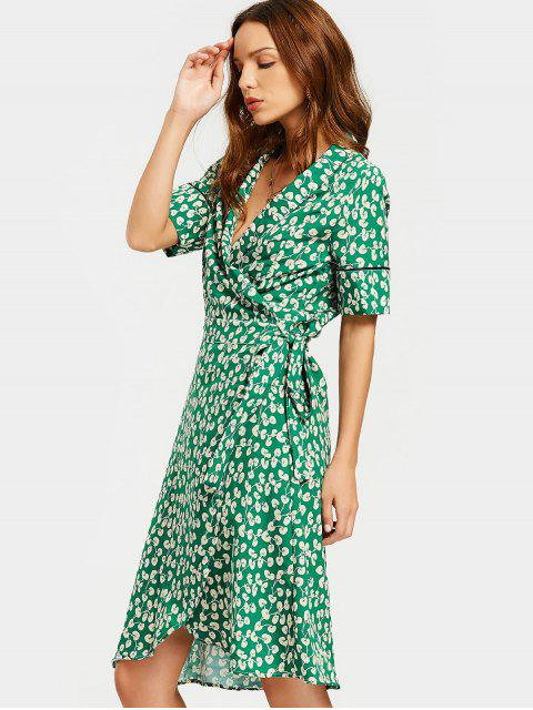 womens Slit Beach Printed Wrap Dress - GREEN S Mobile