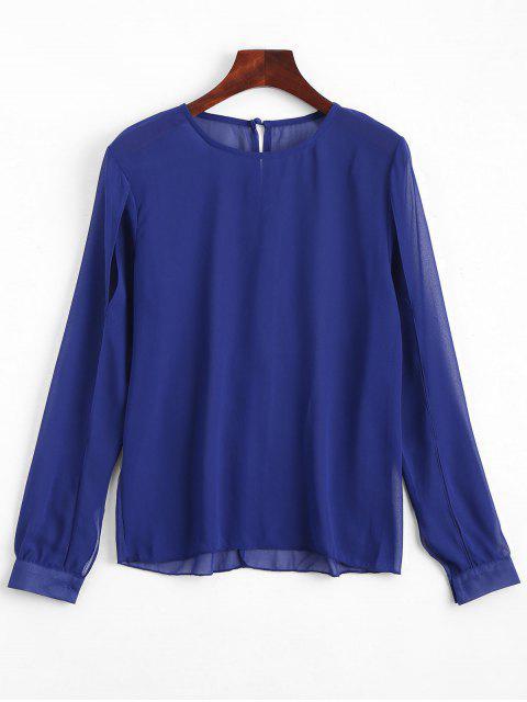 shops Split Sleeve Sheer Blouse - ROYAL XL Mobile