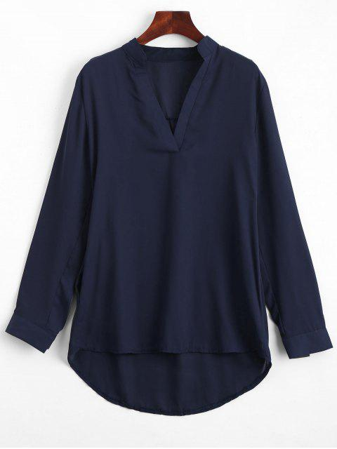 women V Neck Plain High Low Blouse - PURPLISH BLUE XL Mobile