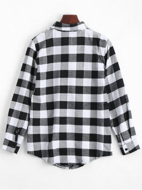 women Button Up Checked Longline Shirt - BLACK XL Mobile