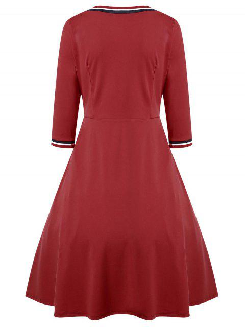 outfit V Neck Three Quarter Sleeve Dress - RED M Mobile