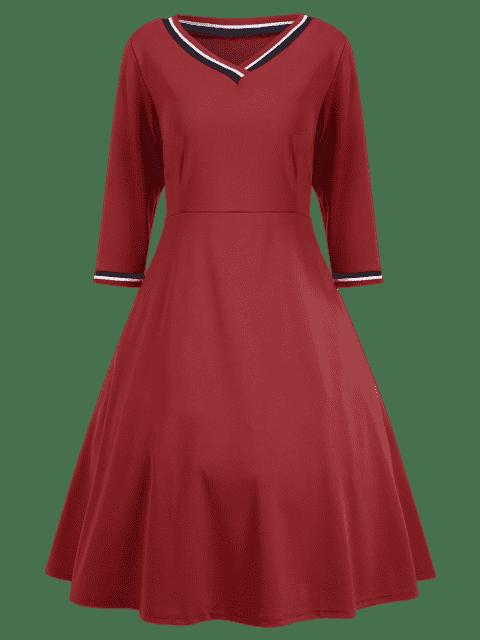 outfits V Neck Three Quarter Sleeve Dress - RED S Mobile