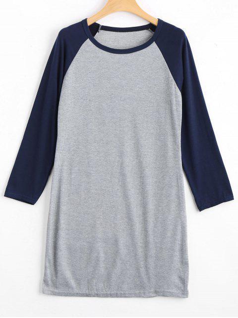 Raglan Sleeve Ribbed Knitted Dress - Bleu Violet L Mobile