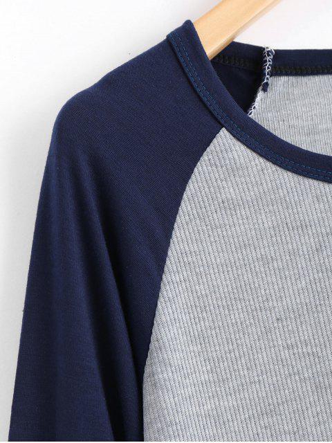 Raglan Sleeve Ribbed Knitted Dress - Bleu Violet M Mobile