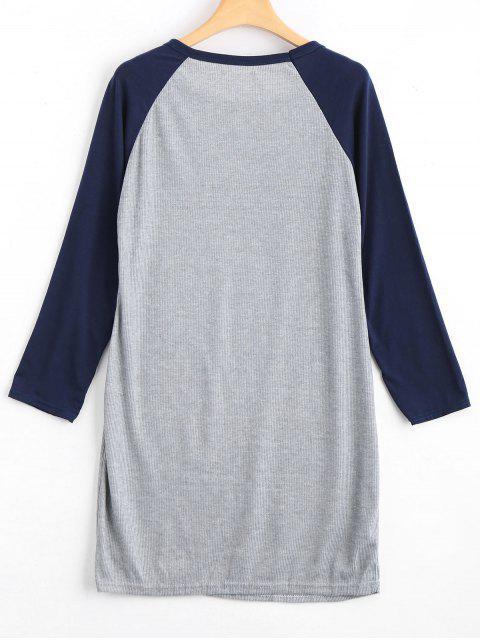 trendy Raglan Sleeve Ribbed Knitted Dress - PURPLISH BLUE S Mobile