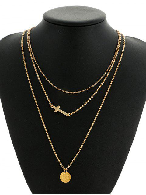 sale Crucifix Circle Disc Pendant Layered Necklace - GOLDEN  Mobile