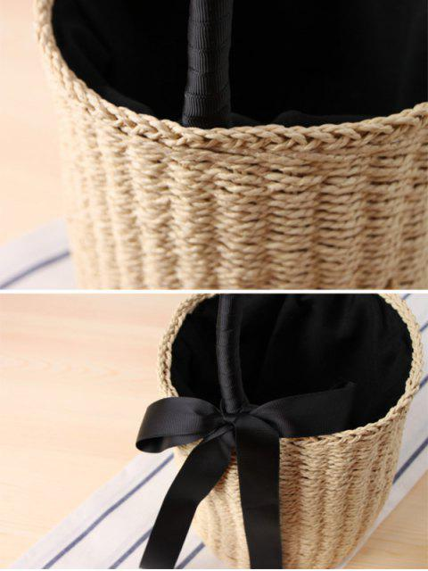 womens Cylinder Shaped Straw Ribbon Tote Bag - BEIGE  Mobile