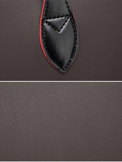 women's Faux Leather Metal Embellished Shoulder Bag - BLACK  Mobile
