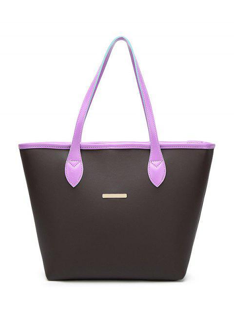 Bolso de hombro embellecido del metal del cuero del faux - Púrpura  Mobile