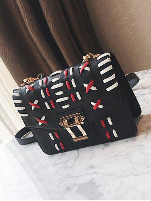 online Weave Color Block Crossbody Bag - BLACK  Mobile
