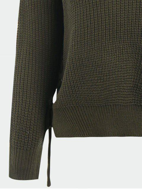 shop V Neck Side Lace Up Sweater - ARMY GREEN ONE SIZE Mobile