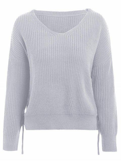 shops V Neck Side Lace Up Sweater - LIGHT GREY ONE SIZE Mobile