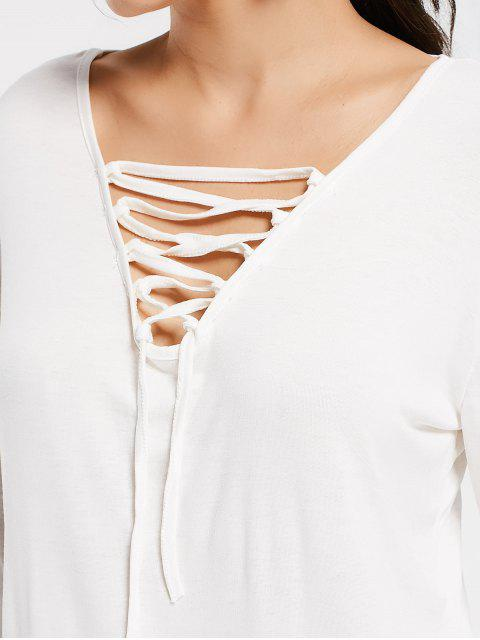 ladies Plunging Neck Lace Up High Low Tee - WHITE M Mobile