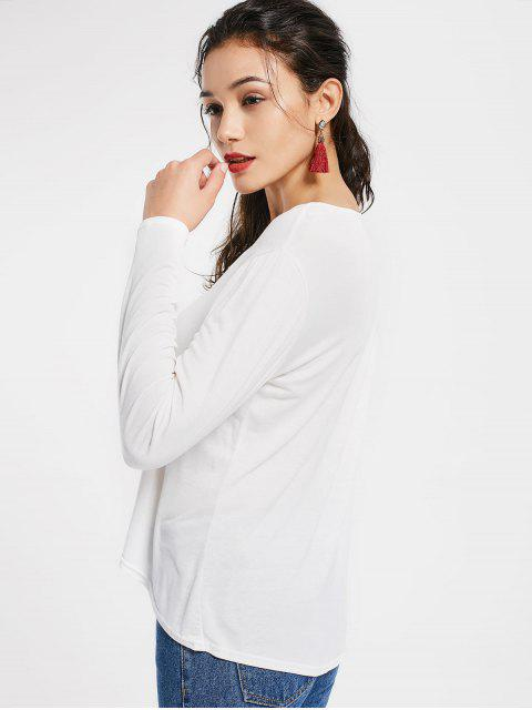 best Plunging Neck Lace Up High Low Tee - WHITE XL Mobile