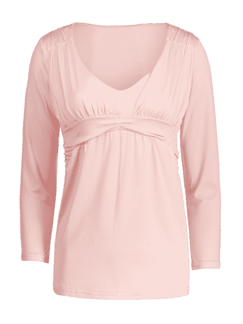 hot Plunging Neck Ruched Plain Tee - PINK L Mobile