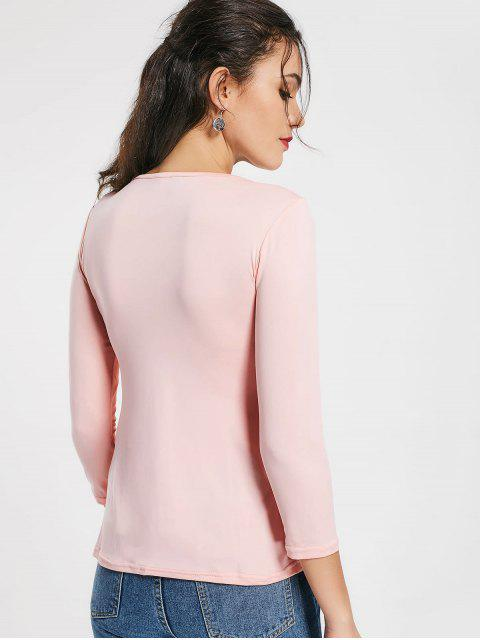 outfit Plunging Neck Ruched Plain Tee - PINK XL Mobile