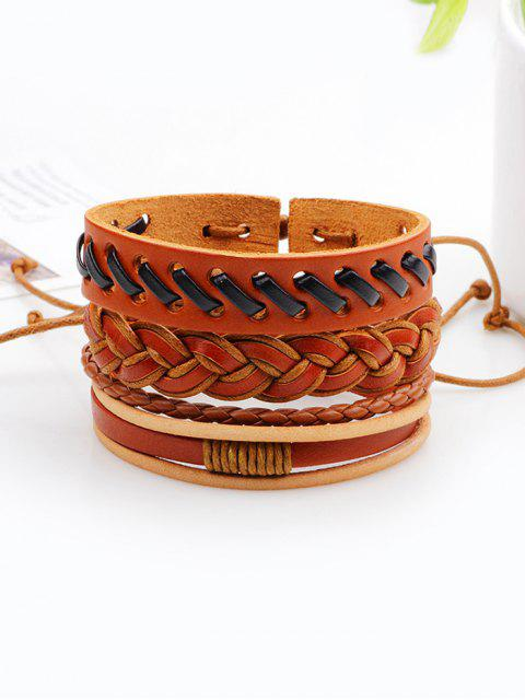 outfits Vintage Woven Faux Leather Bracelets Set - BROWN  Mobile