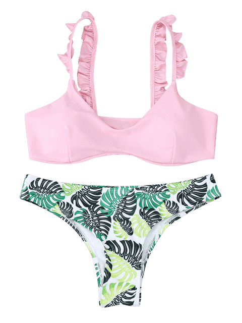 hot Frill Trim Scoop Neck Printed Bikini Set - PINK S Mobile
