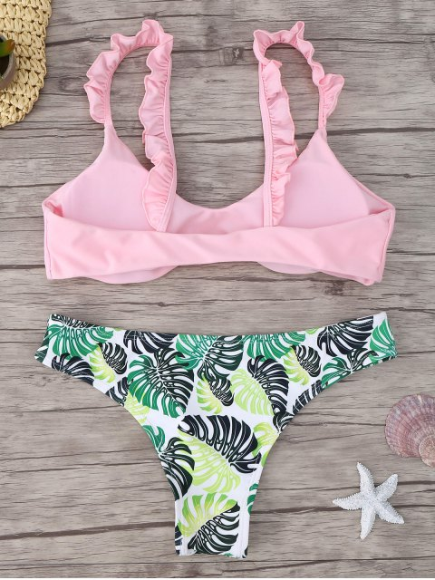 outfits Frill Trim Scoop Neck Printed Bikini Set - PINK L Mobile